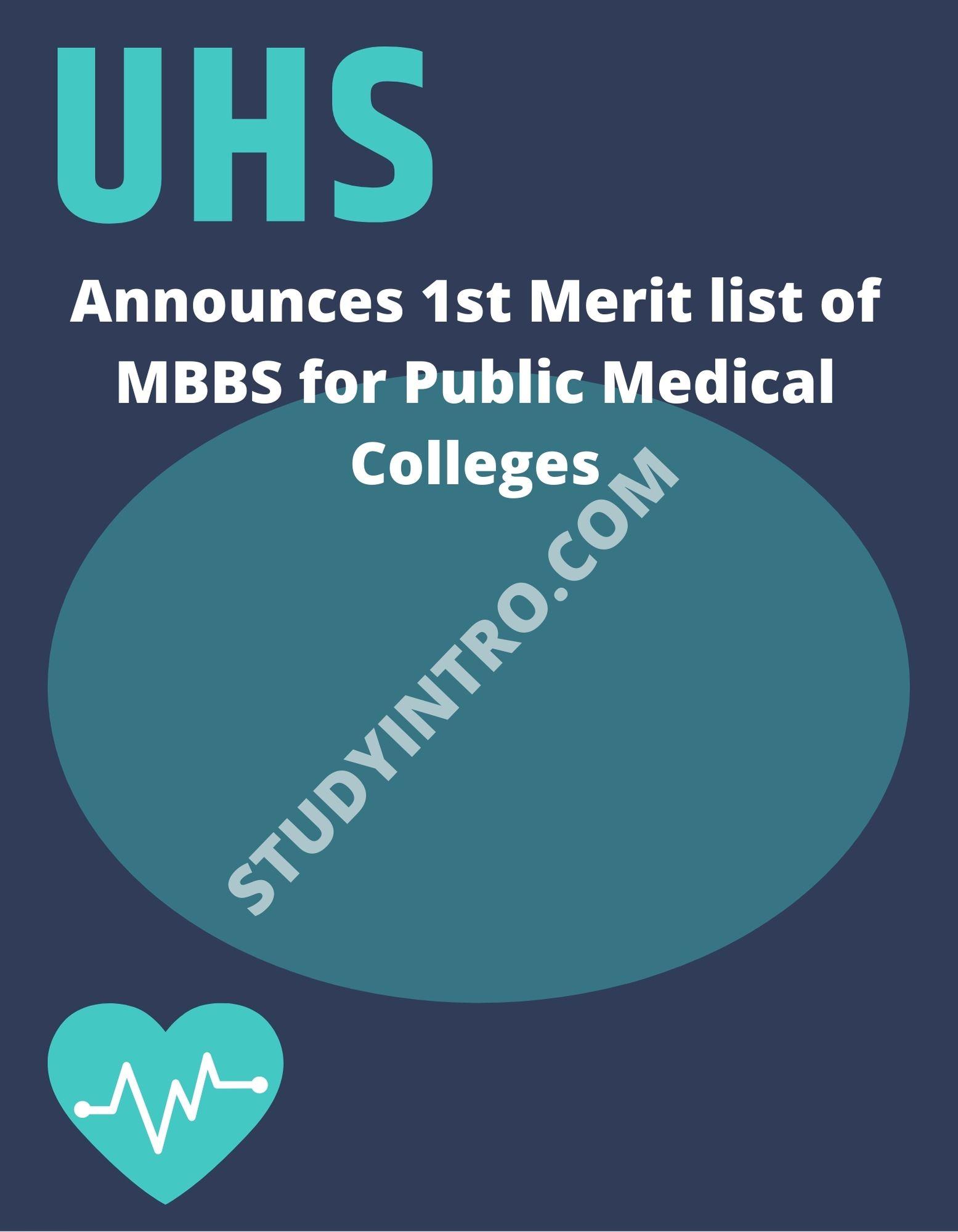 1st Merit List of MBBS