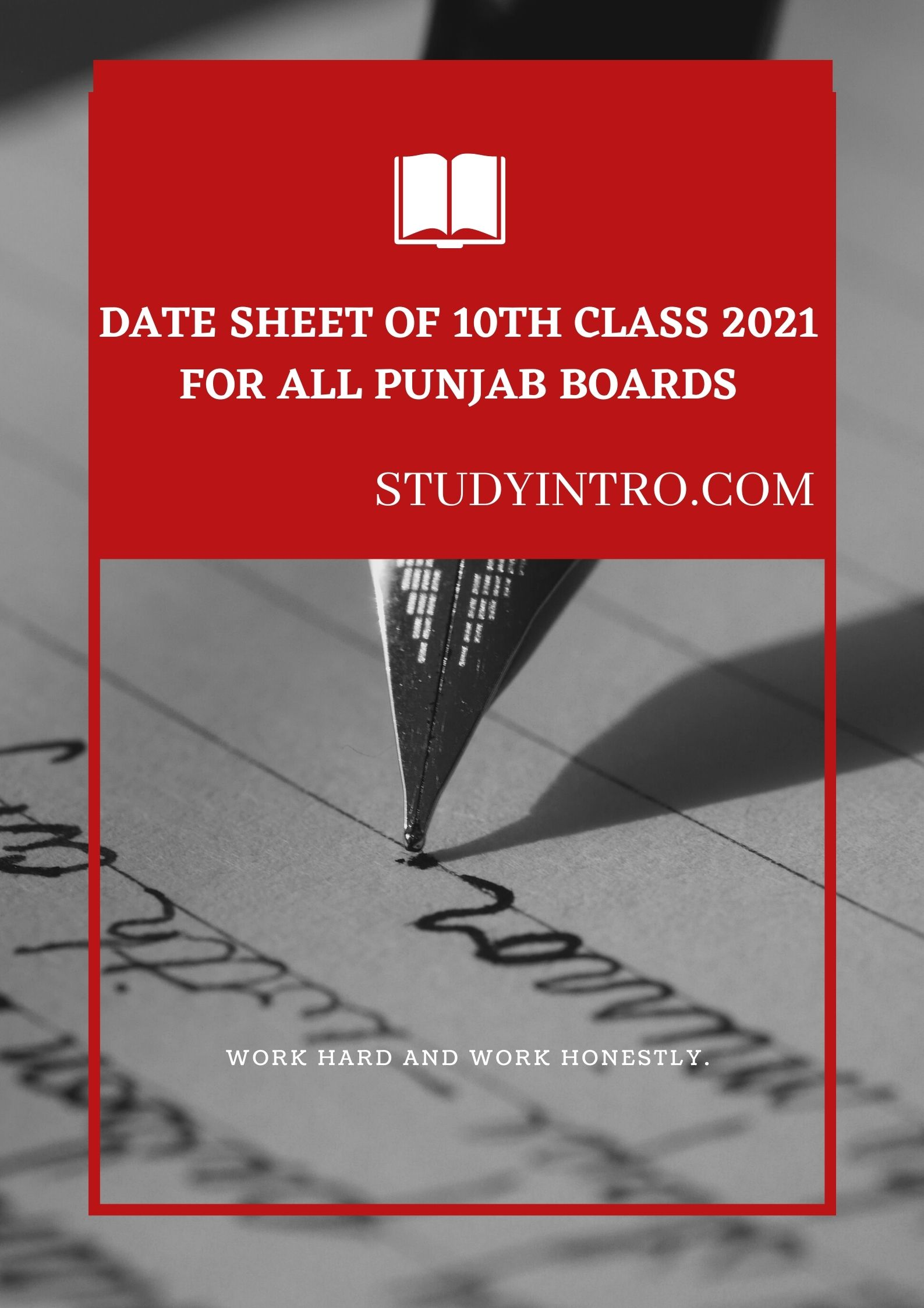Date Sheet for 10th Class for all Punjab Boards