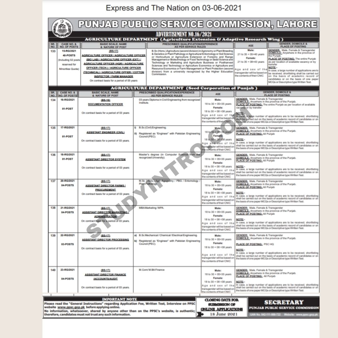 Government Jobs in Agriculture department