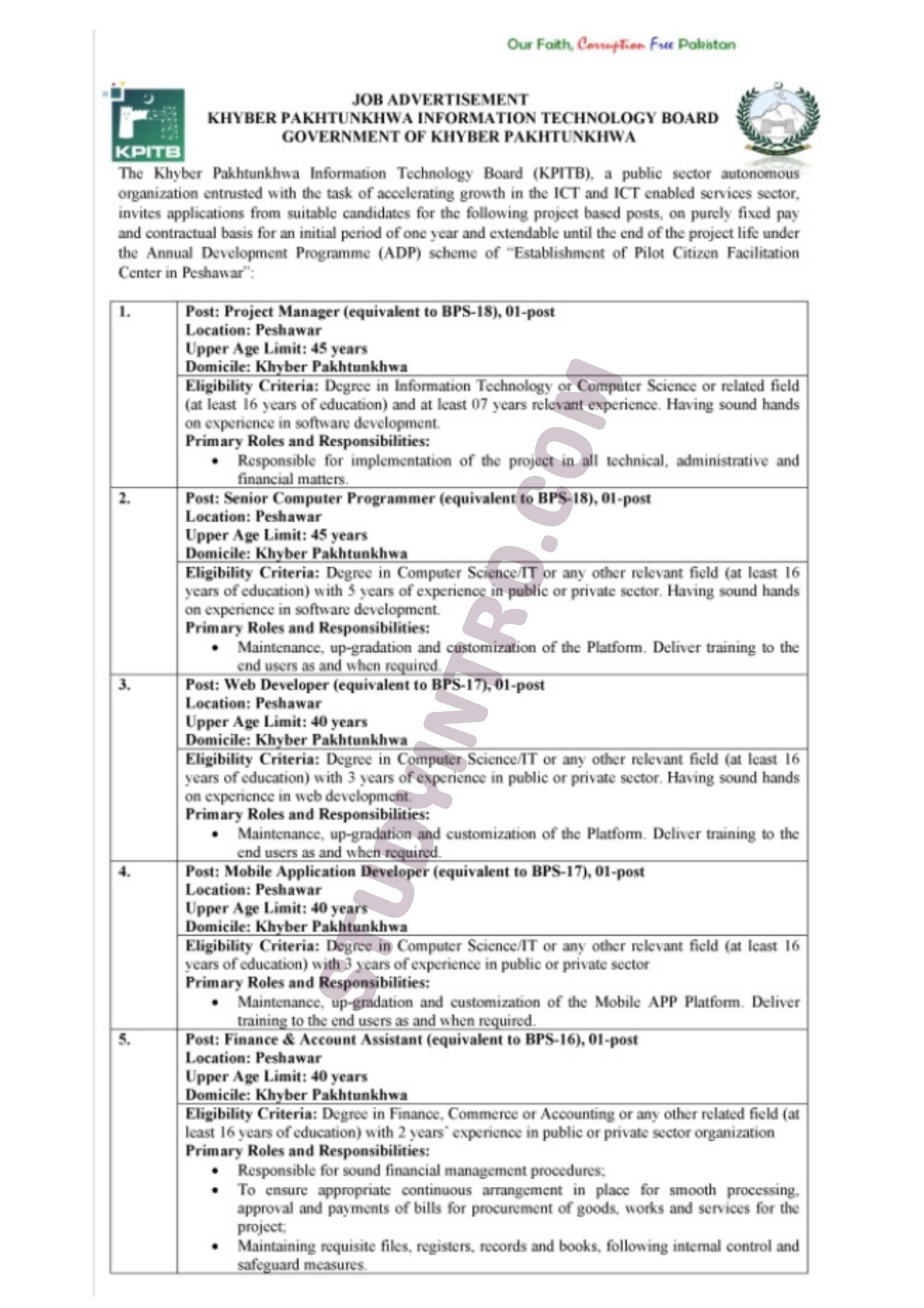 Jobs in KPK Information Technology Board 2021