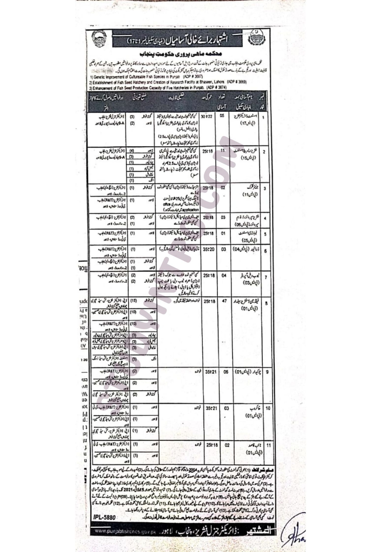 Government Jobs in Fisheries Department 2021