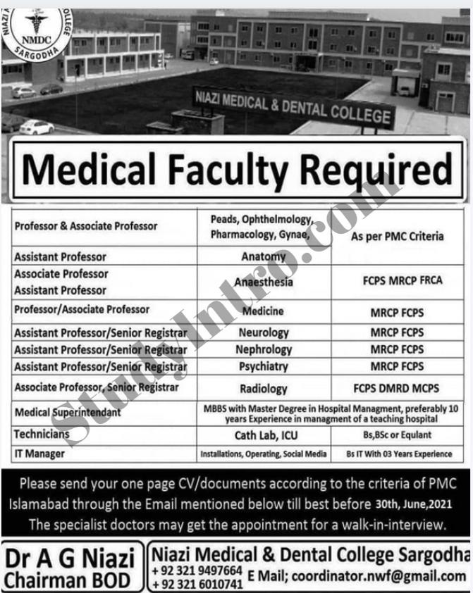 Jobs in NIAZI Medical and Dental College Sargodha 2021