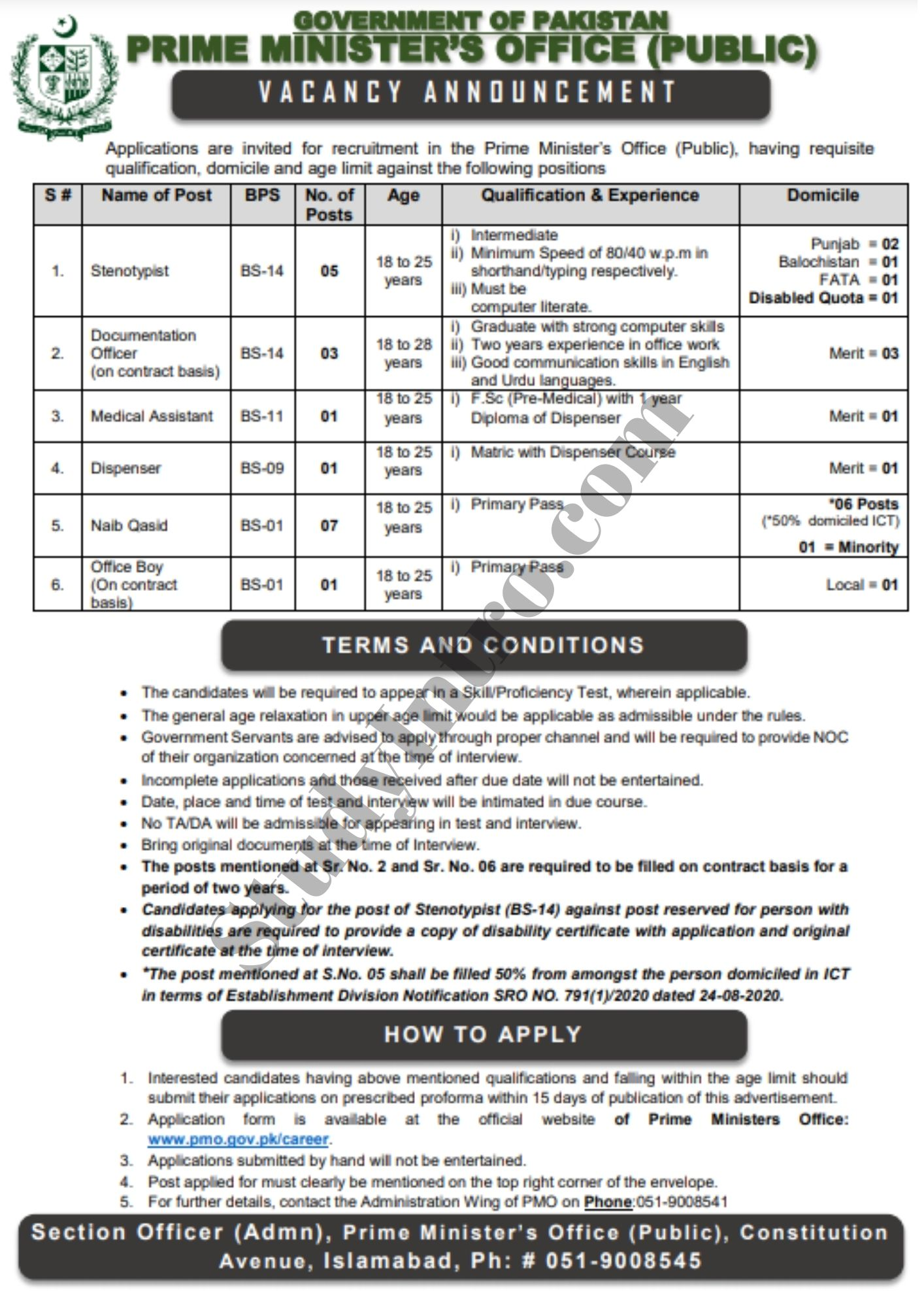 Latest Jobs in Prime Minister Office of Pakistan 2021