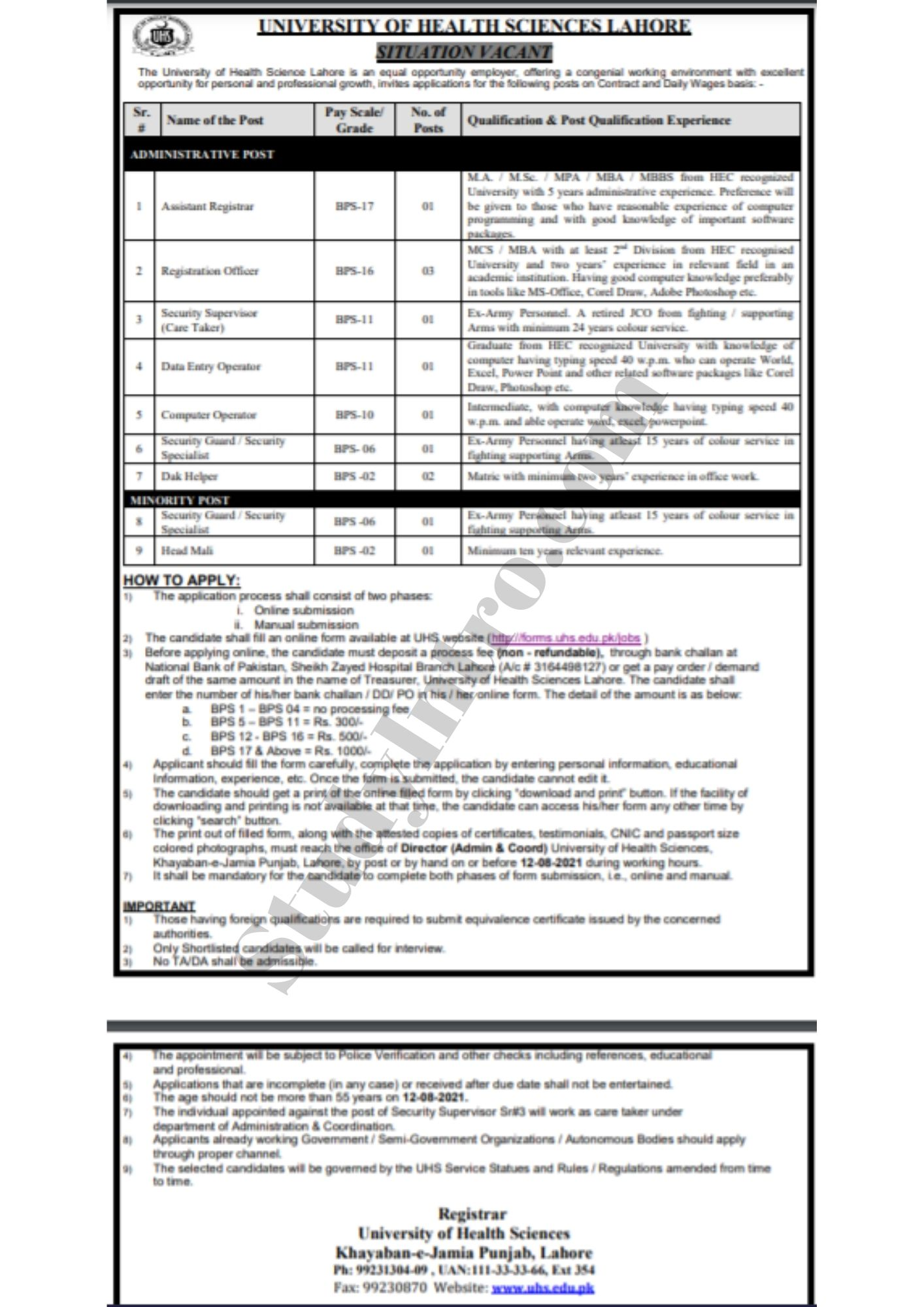 Latest Jobs in UHS Lahore 2021