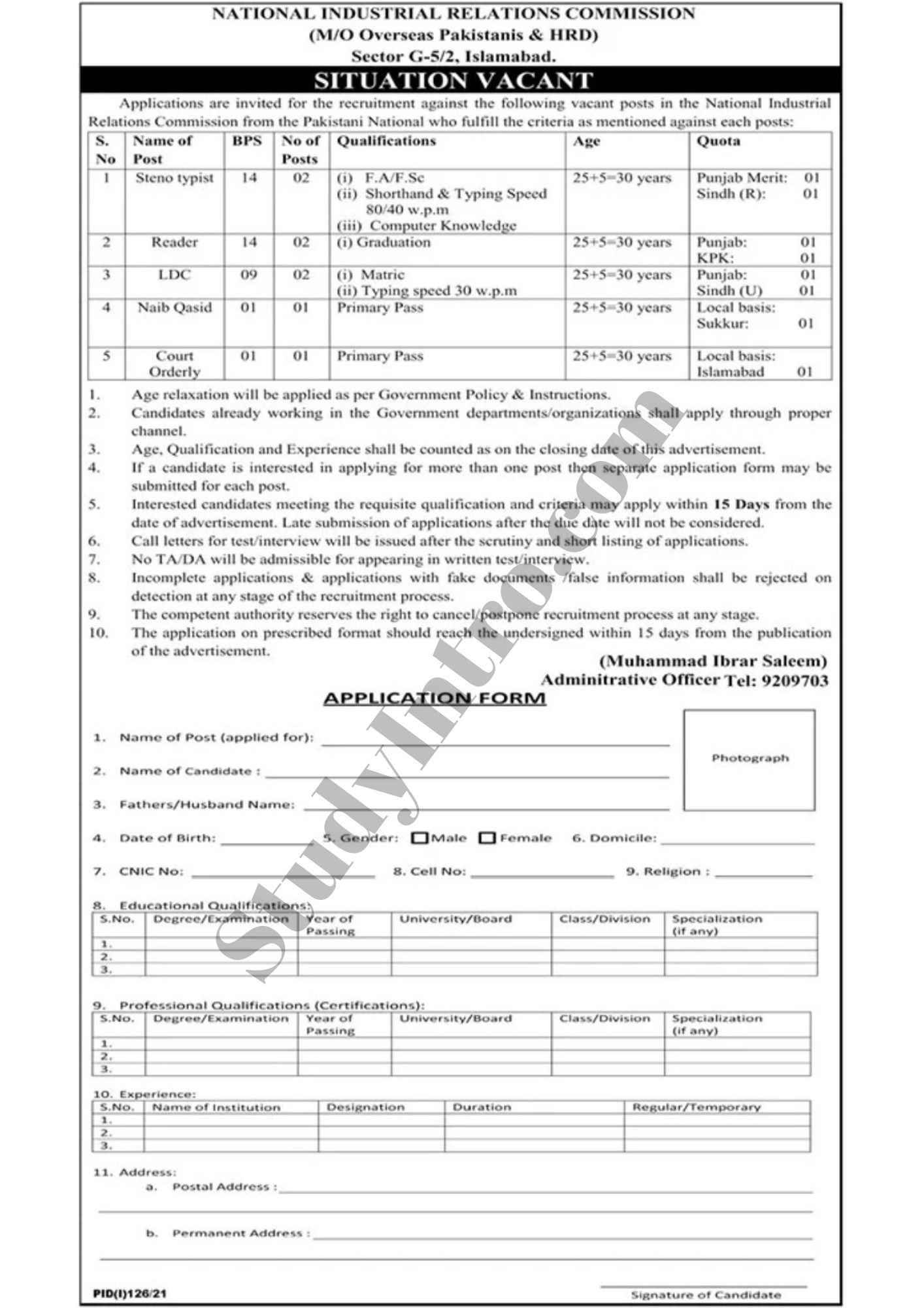 Jobs in Islamabad-Ministry of Overseas Jobs
