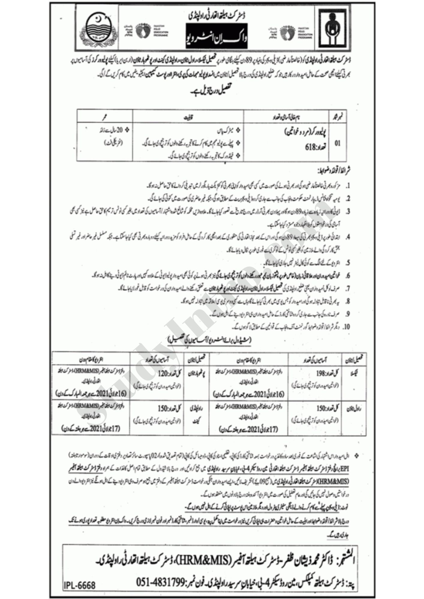 Latest Jobs in Punjab 2021-Polio Workers Jobs