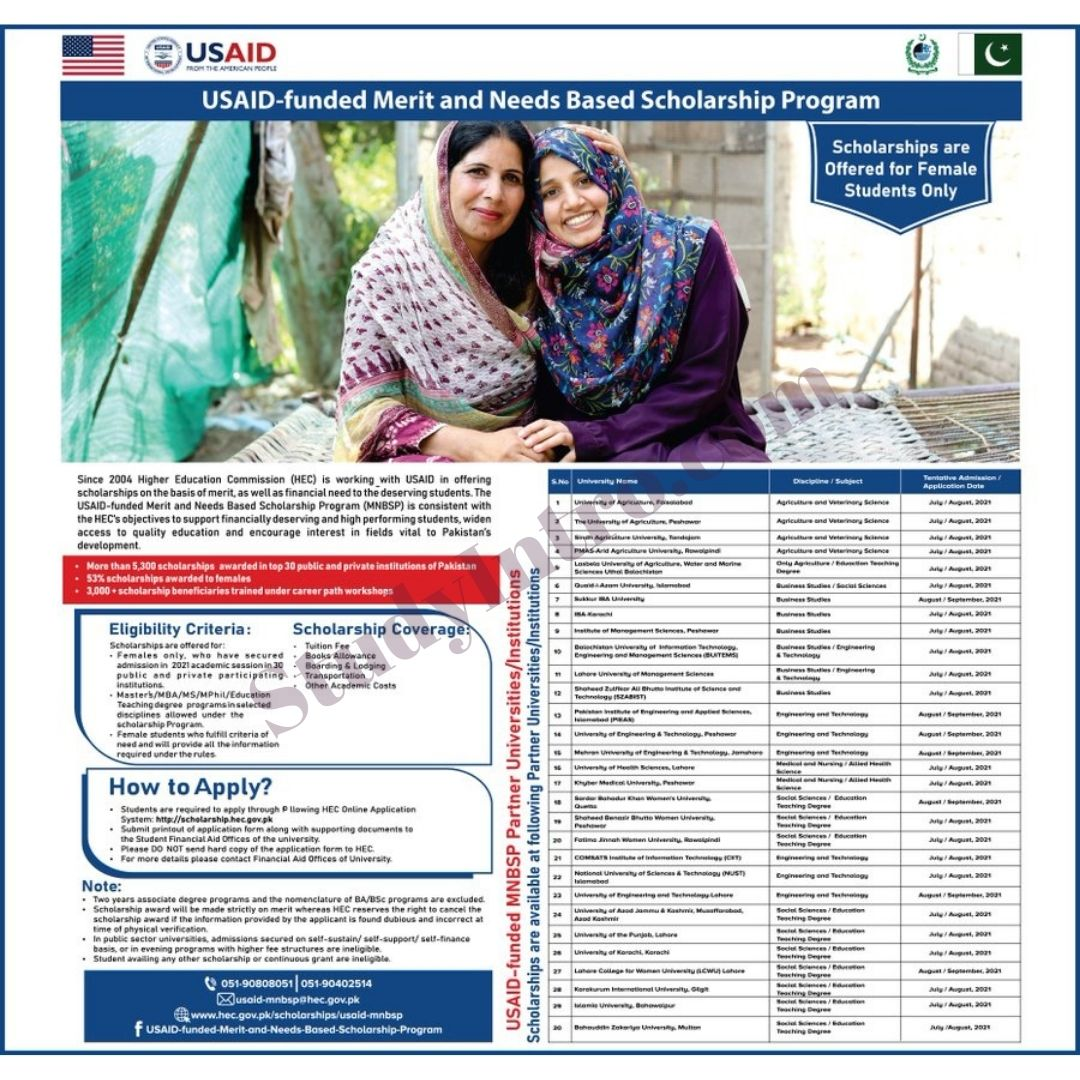 USAID Announces Funded Merit and Need Based Scholarships 2021-Apply NOW