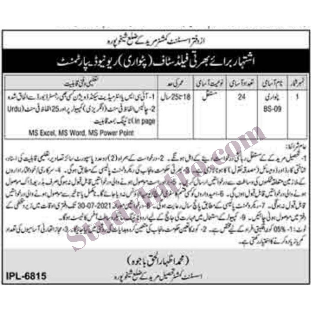 Patwari Jobs in AC Office Mureedky 2021