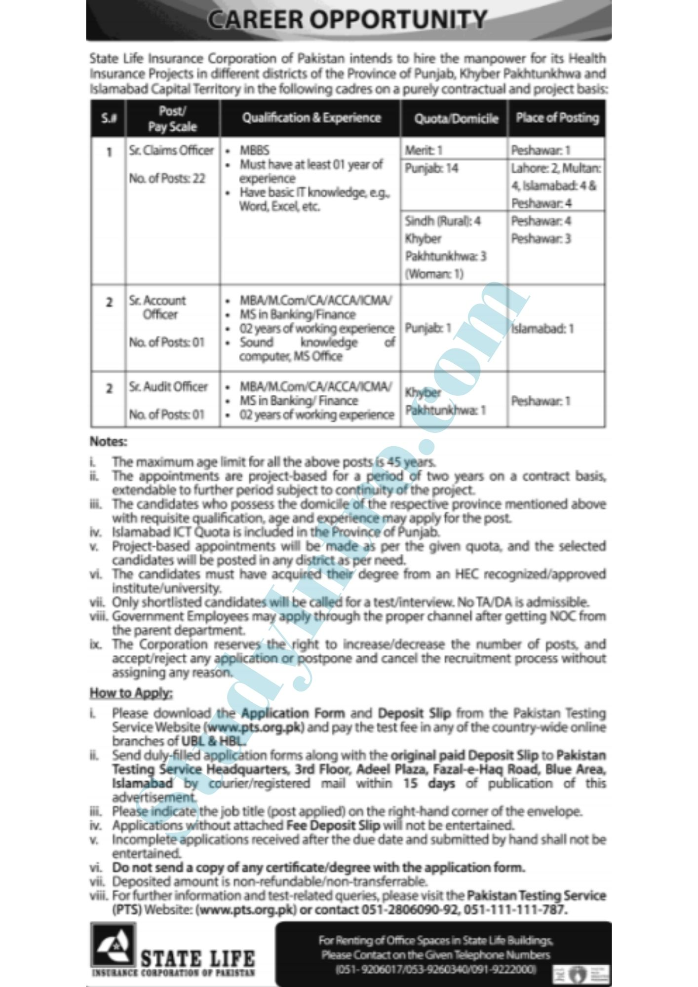 Latest Jobs in State life Coraporation of Pakistan 2021-Apply Now