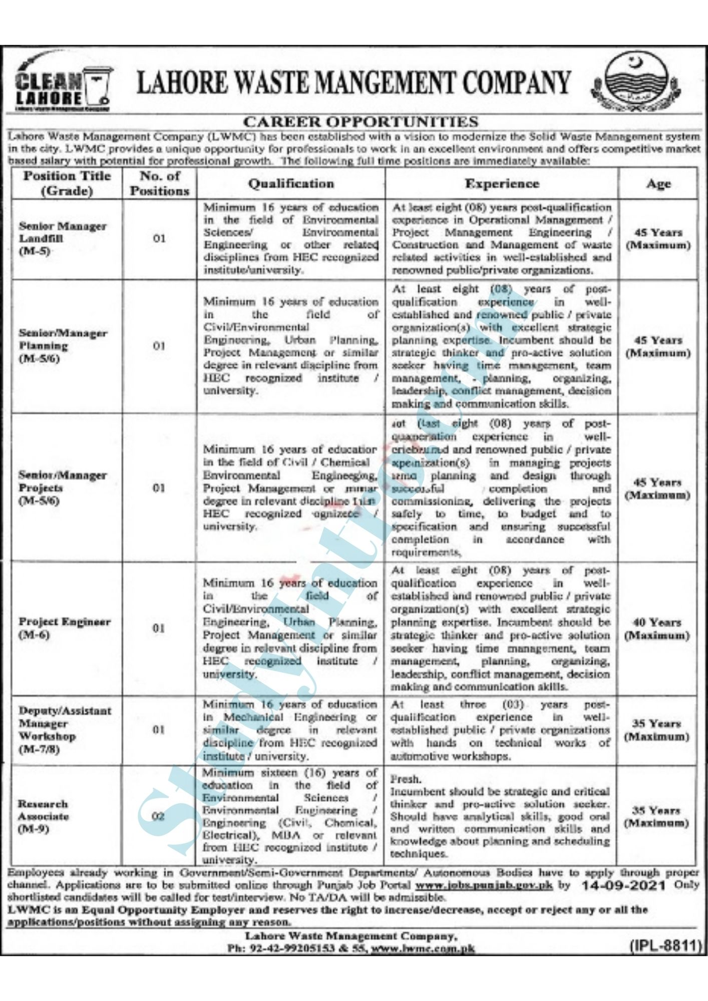 Government Jobs in LWMC (Lahore Waste Management Company)2021-Apply Now