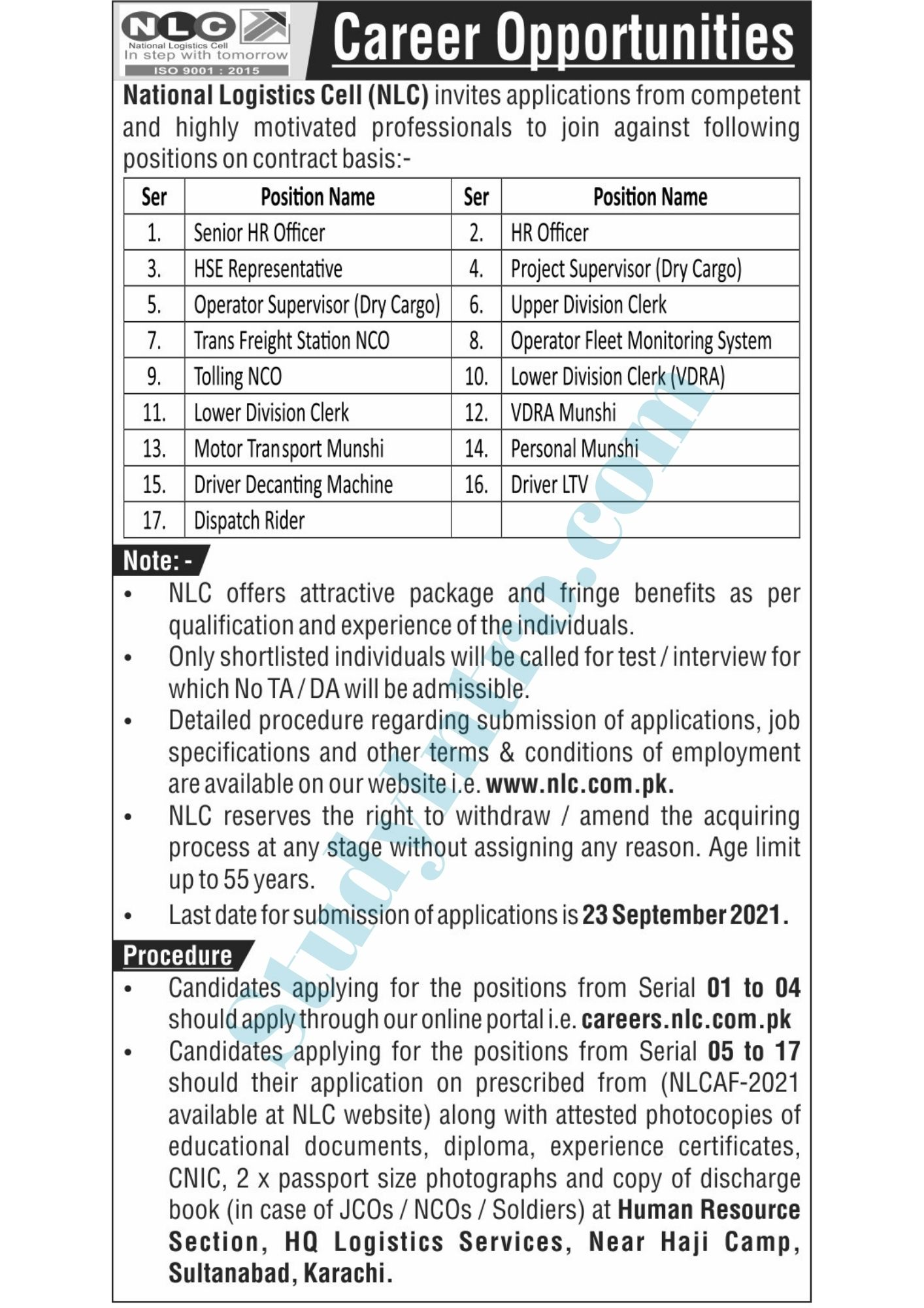 Latest Jobs in National Logistics Cell (NLC) 2021-Apply Now