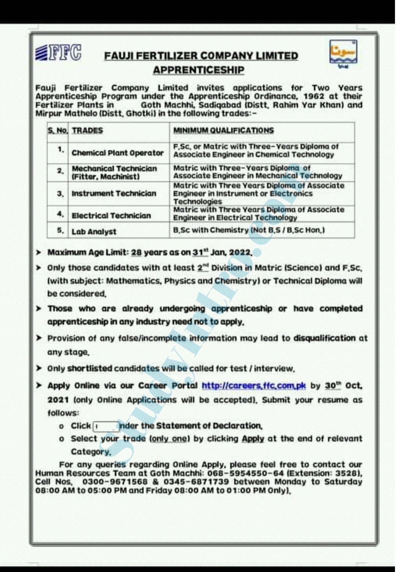 Govt Jobs in Fauji Fertilizer Company 2021-Apply Online