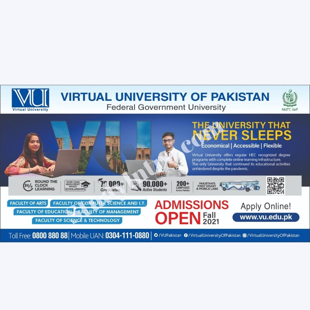 Admissions in Virtual University Fall 2021-Apply Now