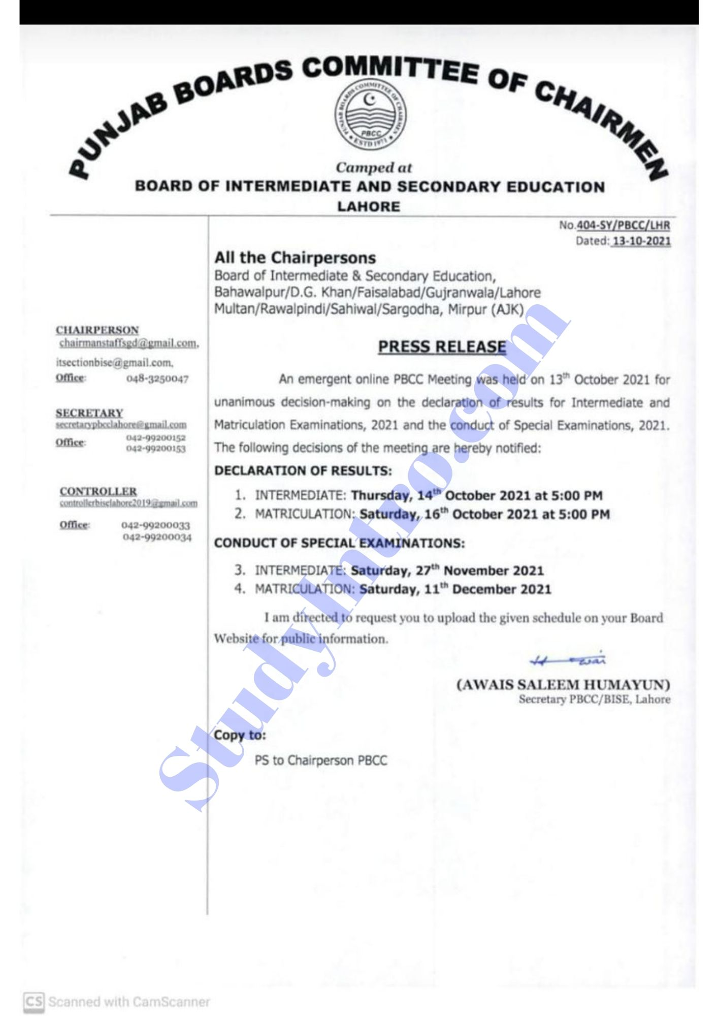 Punjab Board Announces the Result Date of Matric and Intermediate 2021