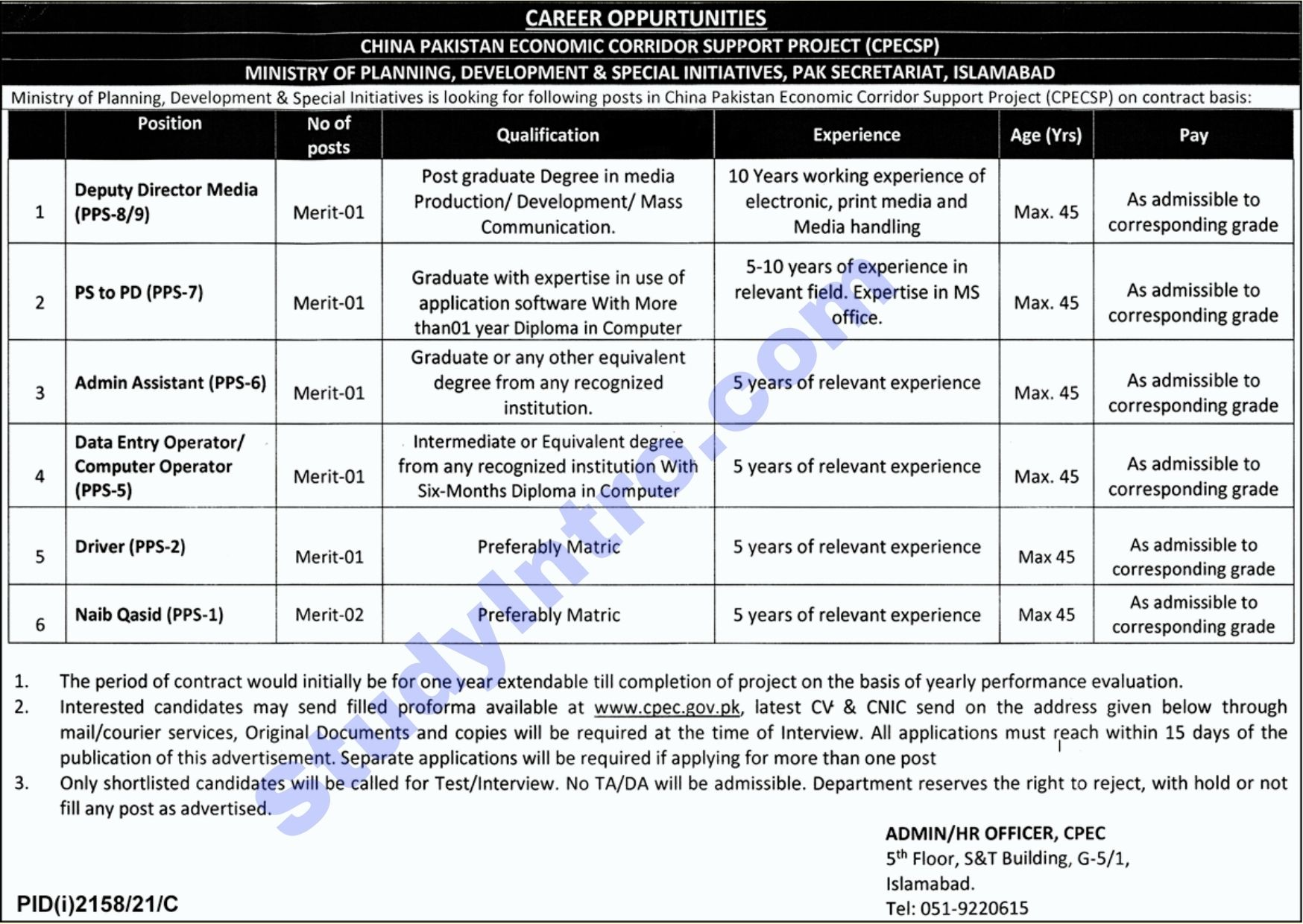 Government Jobs in CPEC 2021
