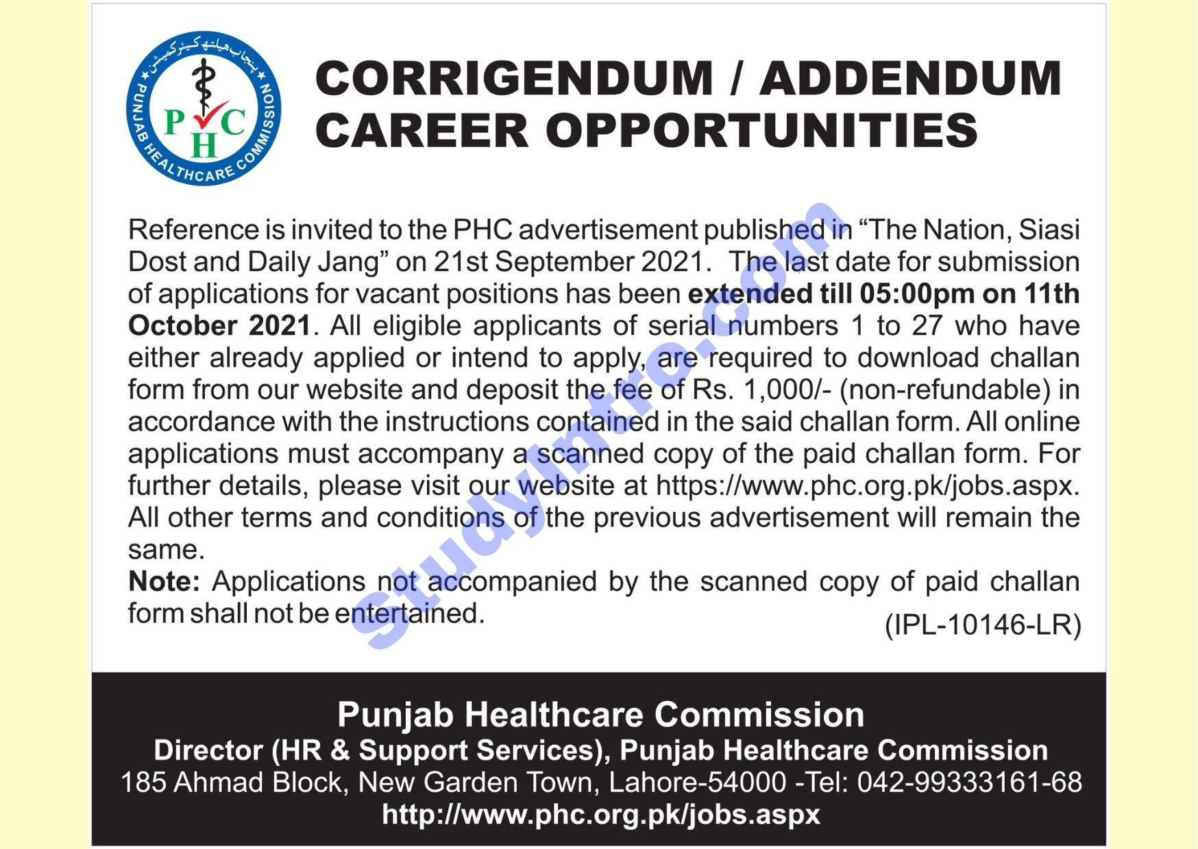 Govt Jobs in Punjab Healthcare Commission 2021-Apply Now